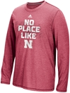 Adidas Aero Knit L/S No Place Like Nebraska Sideline Tee - Red - AT-80006