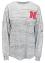 Puff Nebraska Oversize Marble Long Sleeve Nebraska Cornhuskers, Nebraska  Ladies T-Shirts, Huskers  Ladies T-Shirts, Nebraska  Ladies, Huskers  Ladies, Nebraska  Ladies Tops, Huskers  Ladies Tops, Nebraska Marble Gray W LS W Tee SJ, Huskers Marble Gray W LS W Tee SJ