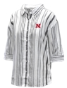 Nebraska Womens Striped Button Up Nebraska Cornhuskers, Nebraska  Ladies Tops, Huskers  Ladies Tops, Nebraska  Ladies Polos, Huskers  Ladies Polos, Nebraska Nebraska Womens Striped Button Up, Huskers Nebraska Womens Striped Button Up